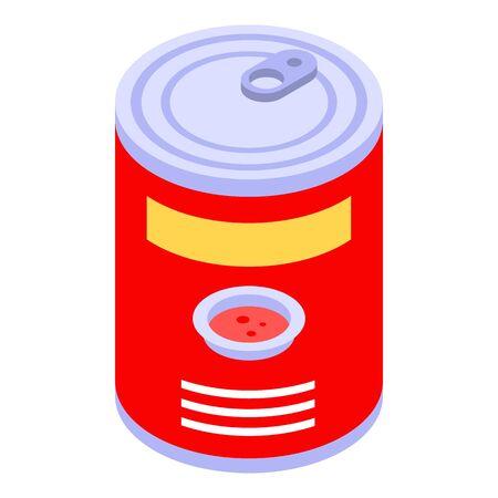 Tomato bean tin can icon, isometric style