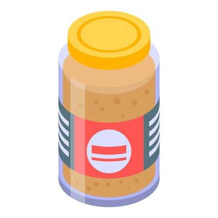 Mustard jar icon, isometric style