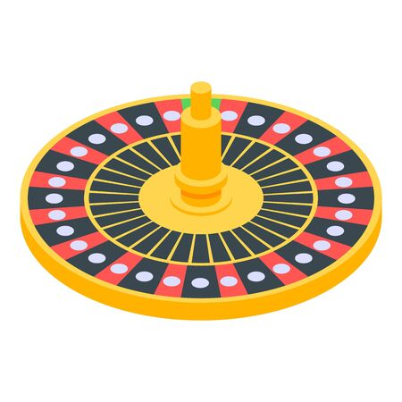 Casino lucky roulette icon, isometric style