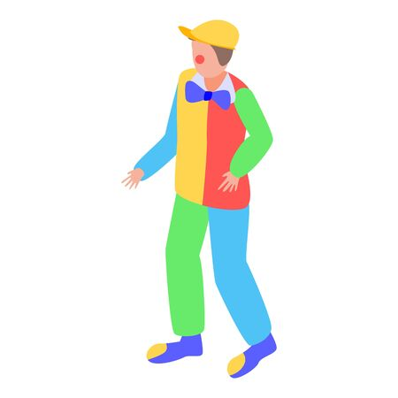 Colorful clown icon, isometric style Illustration