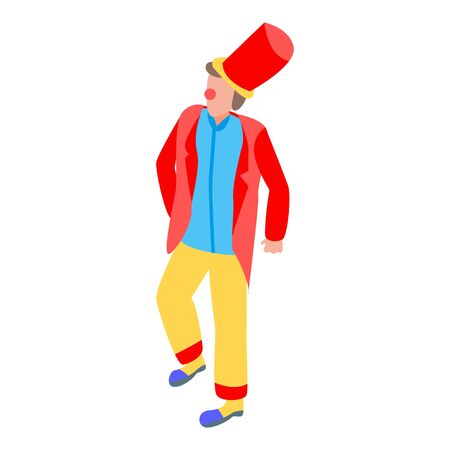 Funny clown icon, isometric style
