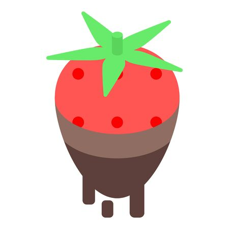 Strawberry in chocolate icon, isometric style