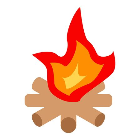 Nature campfire icon, isometric style