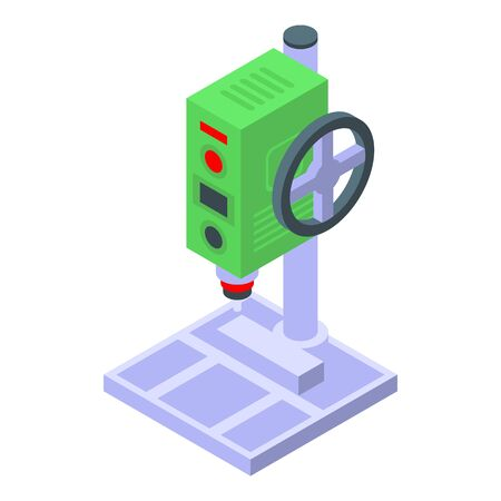 Factory drilling machine icon, isometric style