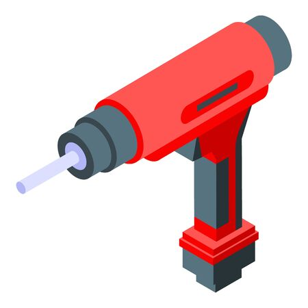 Electric drilling machine icon, isometric style