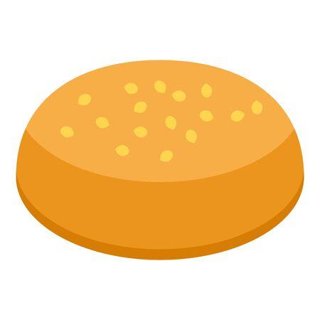 American burger bun icon, isometric style