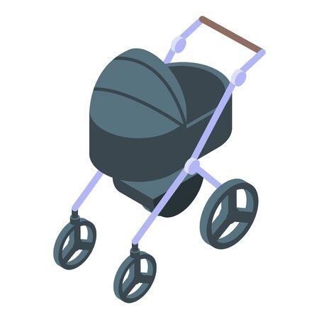 Modern baby pram icon, isometric style