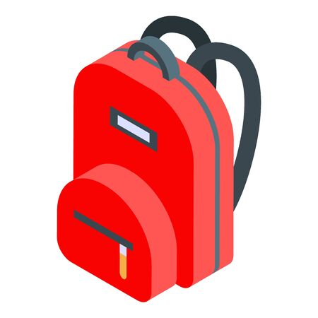 Red backpack icon. Isometric of red backpack vector icon for web design isolated on white background