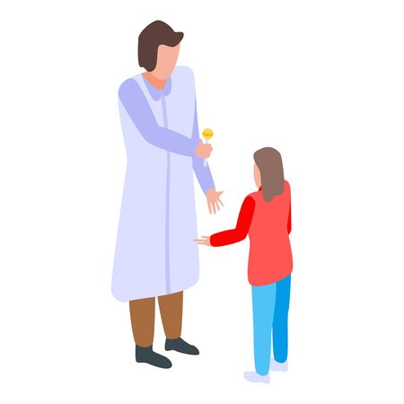 Kid pediatrician icon, isometric style