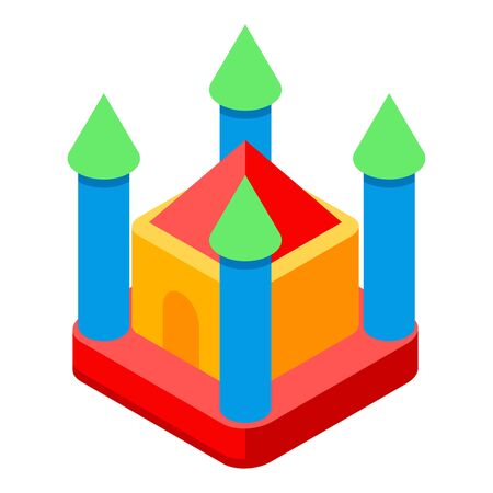 Castle trampoline icon, isometric style