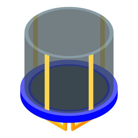 Protected trampoline icon, isometric style