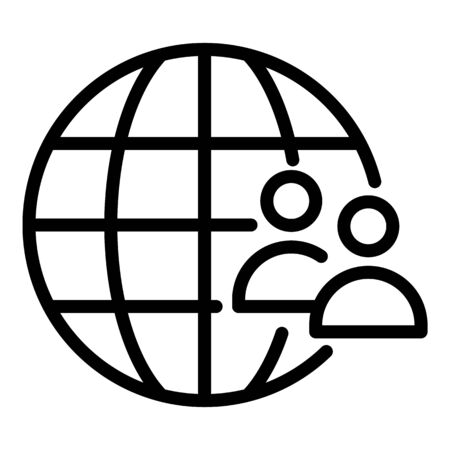 Global marketing icon, outline style Çizim