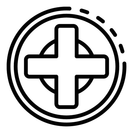 Medical cross icon, outline style