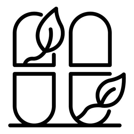 Herbal capsule icon, outline style