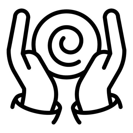 Hands hypnosis icon, outline style