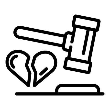 Divorce judge gavel icon, outline style