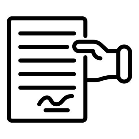 Take divorce paper icon, outline style