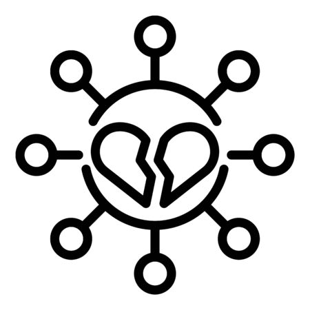 Broken divorce heart icon, outline style