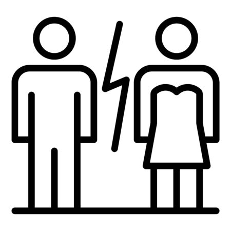 Modern family divorce icon, outline style Illustration