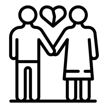 Family heartbrake icon, outline style Ilustrace
