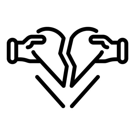 Divorce heartbrake icon, outline style Ilustrace