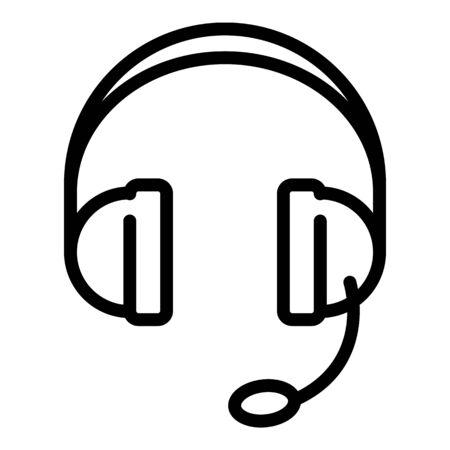 Headset icon, outline style Illusztráció