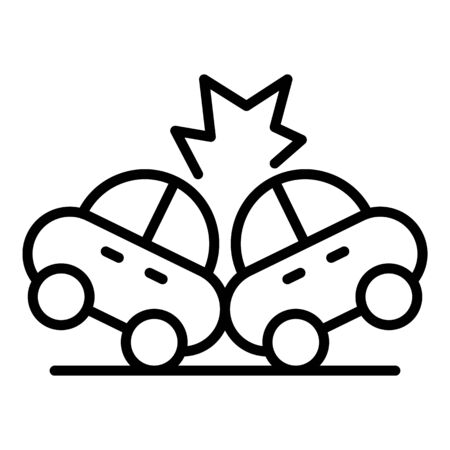 Car accident collision icon, outline style Vetores