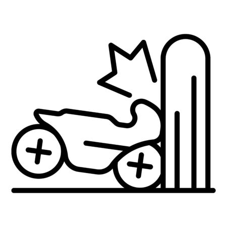Motorcycle wall accident icon, outline style