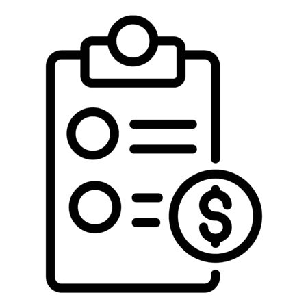Private clinic payment icon, outline style Çizim