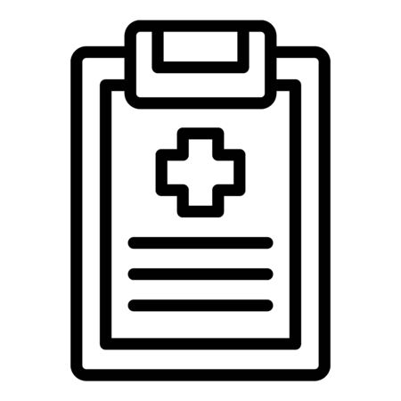 Medical clipboard icon, outline style