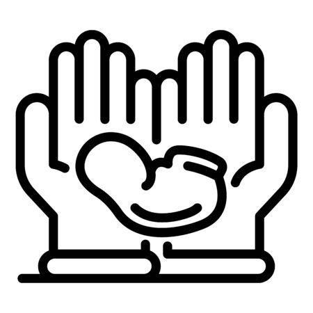 Hands keep newborn icon, outline style Иллюстрация