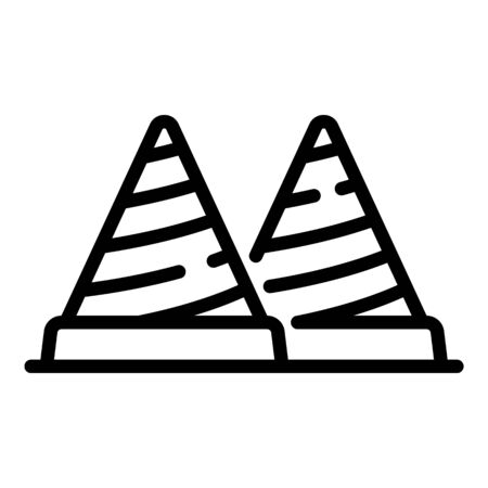 Construction cones icon, outline style