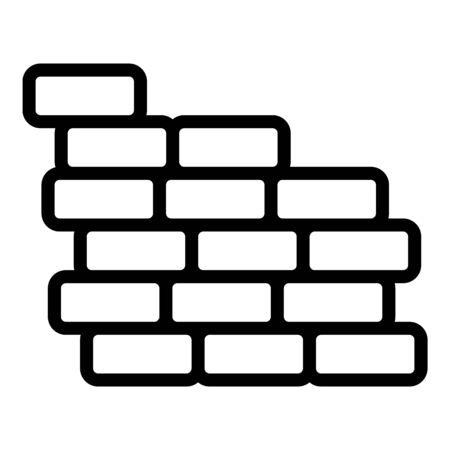 Reconstruction brick wall icon, outline style Ilustrace