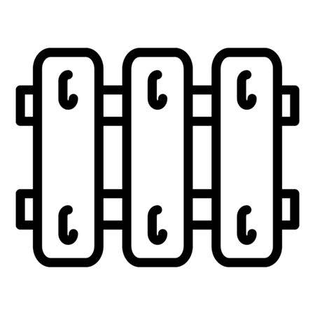 Wood fence icon, outline style