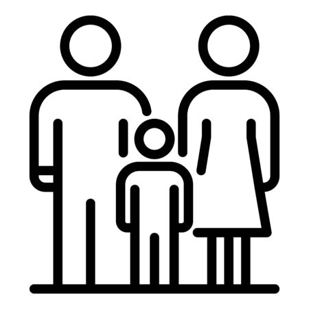 Home foster family icon, outline style Illustration