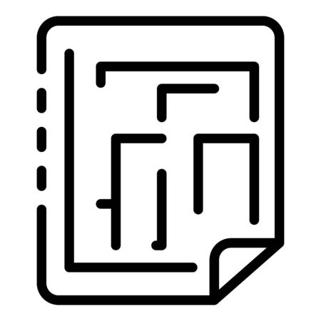 Reconstruction paper plan icon, outline style