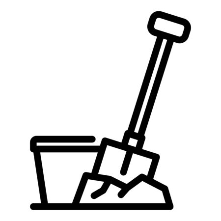 Construction shovel icon. Outline construction shovel vector icon for web design isolated on white background