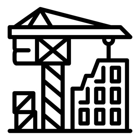 Construction crane working icon. Outline construction crane working vector icon for web design isolated on white background Ilustração