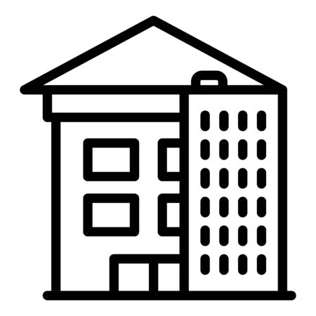 House reconstruction icon, outline style