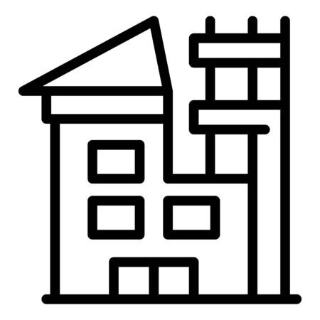Roof house reconstruction icon, outline style