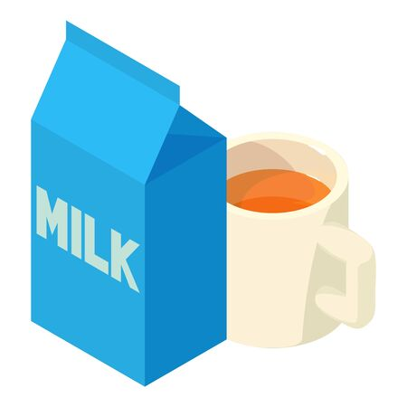 Tea time icon. Isometric illustration of tea time vector icon for web
