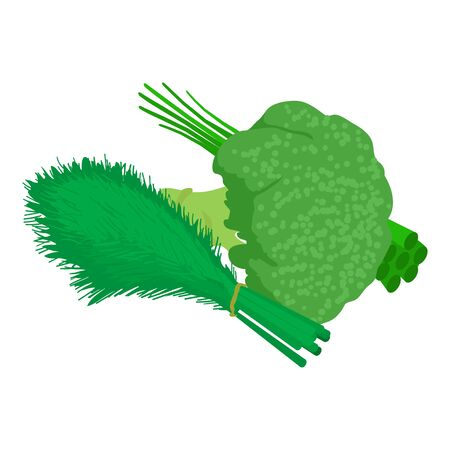 Green vegetables icon. Isometric illustration of green vegetables vector icon for web 向量圖像