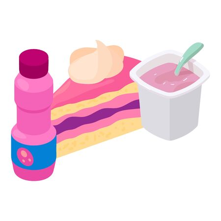 Colorful dessert icon. Isometric illustration of colorful dessert vector icon for web Stock Illustratie