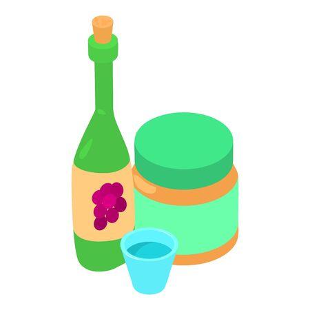 Homemade wine icon. Isometric illustration of homemade wine vector icon for web Ilustración de vector