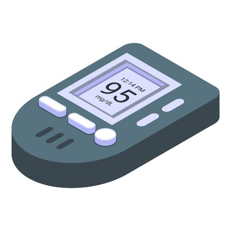 Glucose meter icon, isometric style