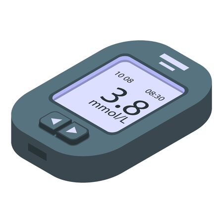 Tester glucose meter icon, isometric style