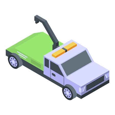 Tow truck icon, isometric style