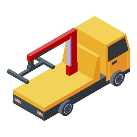 Emergency tow truck icon, isometric style
