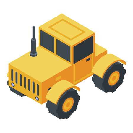 Yellow tractor icon. Isometric of yellow tractor vector icon for web design isolated on white background 일러스트