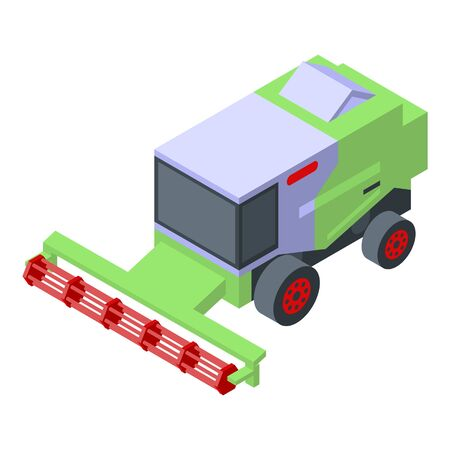 Field farm harvester icon. Isometric of field farm harvester vector icon for web design isolated on white background  イラスト・ベクター素材